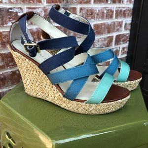 Strappy blue sandals
